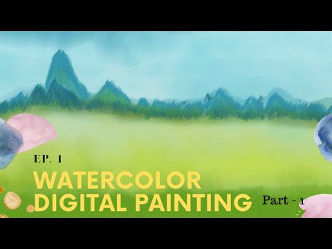 My first Landscape Painting   Water Color  Beginner, Digital Painting, Adobe Fresco   ASMR, relaxing