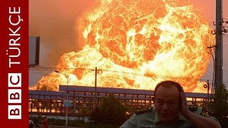 Çin'de kimyasal madde deposundaki patlama anı - BBC TÜRKÇE