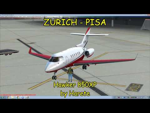[FSX,P3D], Vuelo Zurich - Pisa   Hawker 850XP Carenado