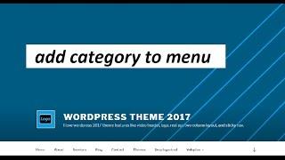 Wordpress : add category to menu