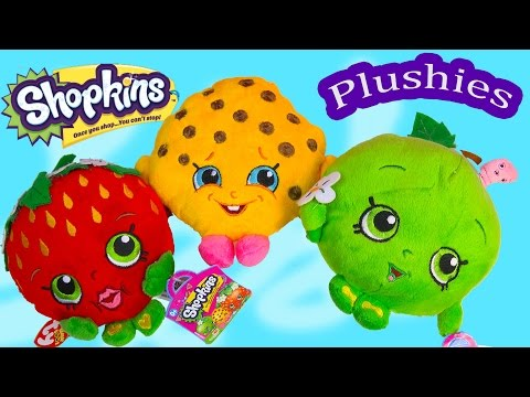 Shopkins Season 1 Plushies Kooky Cookie Strawberry Kiss Apple Blossom 3 Plushy Toy Unboxing Review