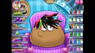 Мультик ИГРА для ДЕТЕЙ - POU. Модная прическа для ПОУ.Trendy hairstyle for POU. Funny Game for Kids