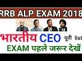 RRB ALP /GROUP D / Indian CEO list 2018 latest  रट लो
