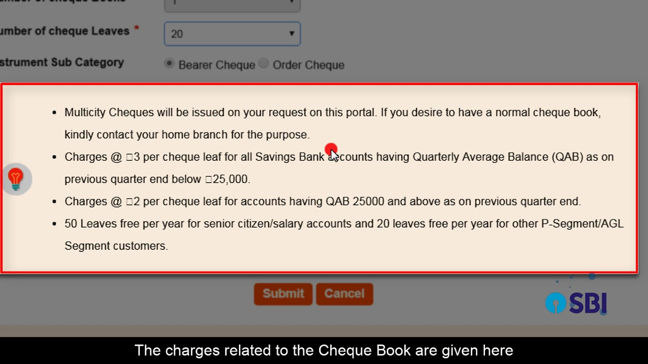 Pdf sbh form cheque request book
