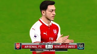 Arsenal vs Newcastle 7-1 | Premier League | 16 December 2017 Gameplay