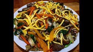 Рисовая лапша с говядиной и овощами | Rice noodles with beef and vegetables
