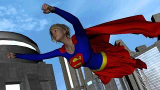 Supergirl Flying Through the City