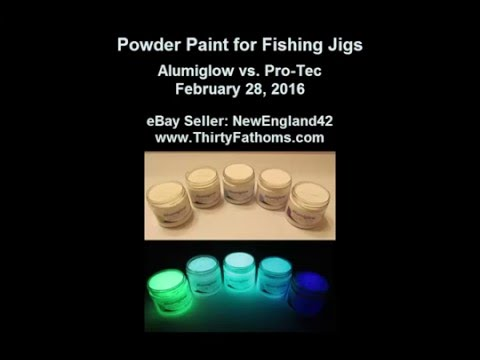 glow powder paint for fishing jigs and lures alumiglow vs pro tec youtube. Black Bedroom Furniture Sets. Home Design Ideas