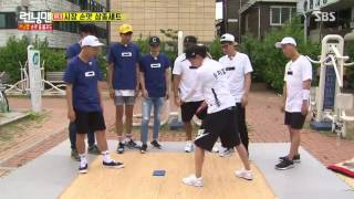 "Ji Hyo knocks HaHa, Seung Won, Kwang Soo, Jae Seok out by herself at ""Slap-Match"" Game (RM 315)"