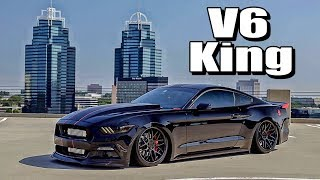 The SICKEST V6 Mustang Ever! Procharged & Bagged Review!