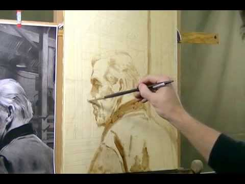 "Open grisaille in oils for ""Steel Shop"" by Alan Dingman Part 1"