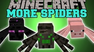 Minecraft: MORE SPIDERS! (RIDE AND TAME SPIDERS!) Too Many Spiders Mod Showcase