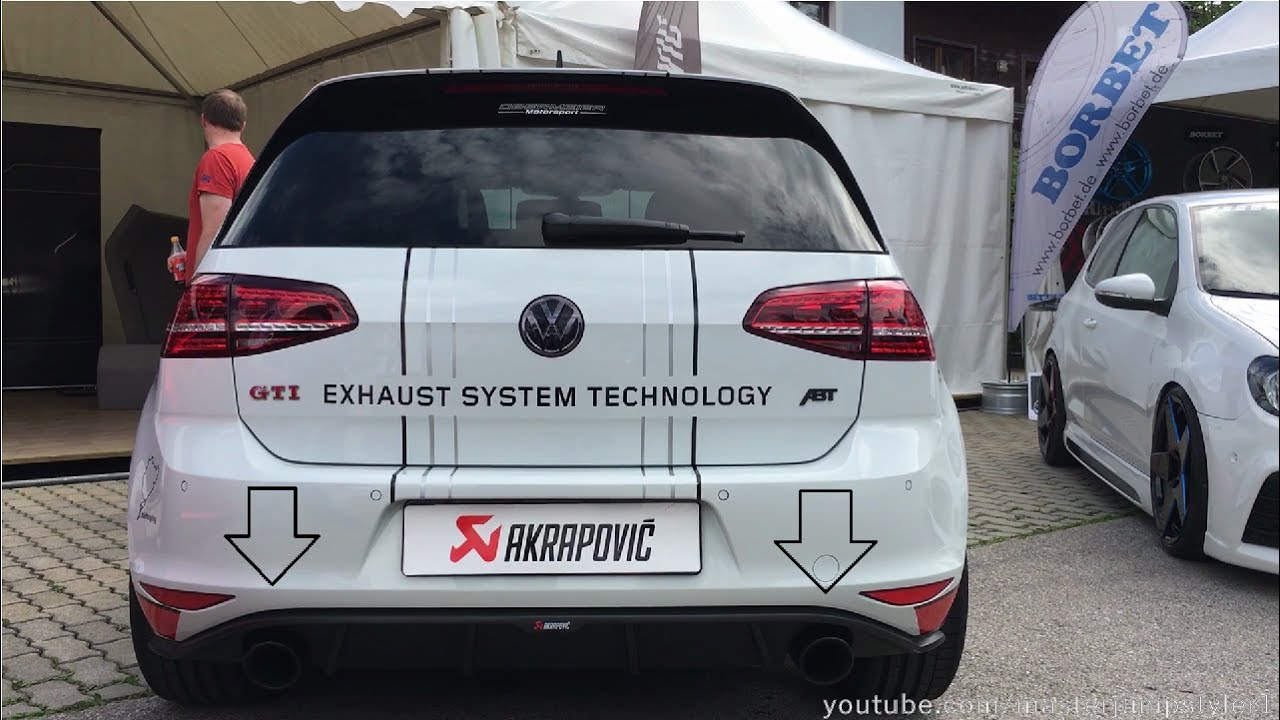 vw golf 7 gti with akrapovic exhaust youtube. Black Bedroom Furniture Sets. Home Design Ideas