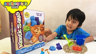 Messing up our Kinetic Sand Dino Dig - Playing with dinosaur bones sand toys for kids