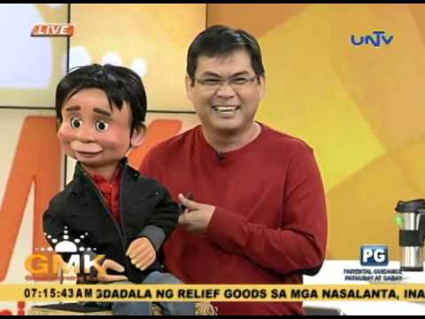 Wanlu and puppet Nicolo on Good Morning Kuya