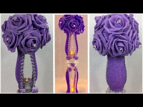 How To Create A Glamorous Purple Floral Wedding Centerpiece / DIY Bling Lavender Lit Vase