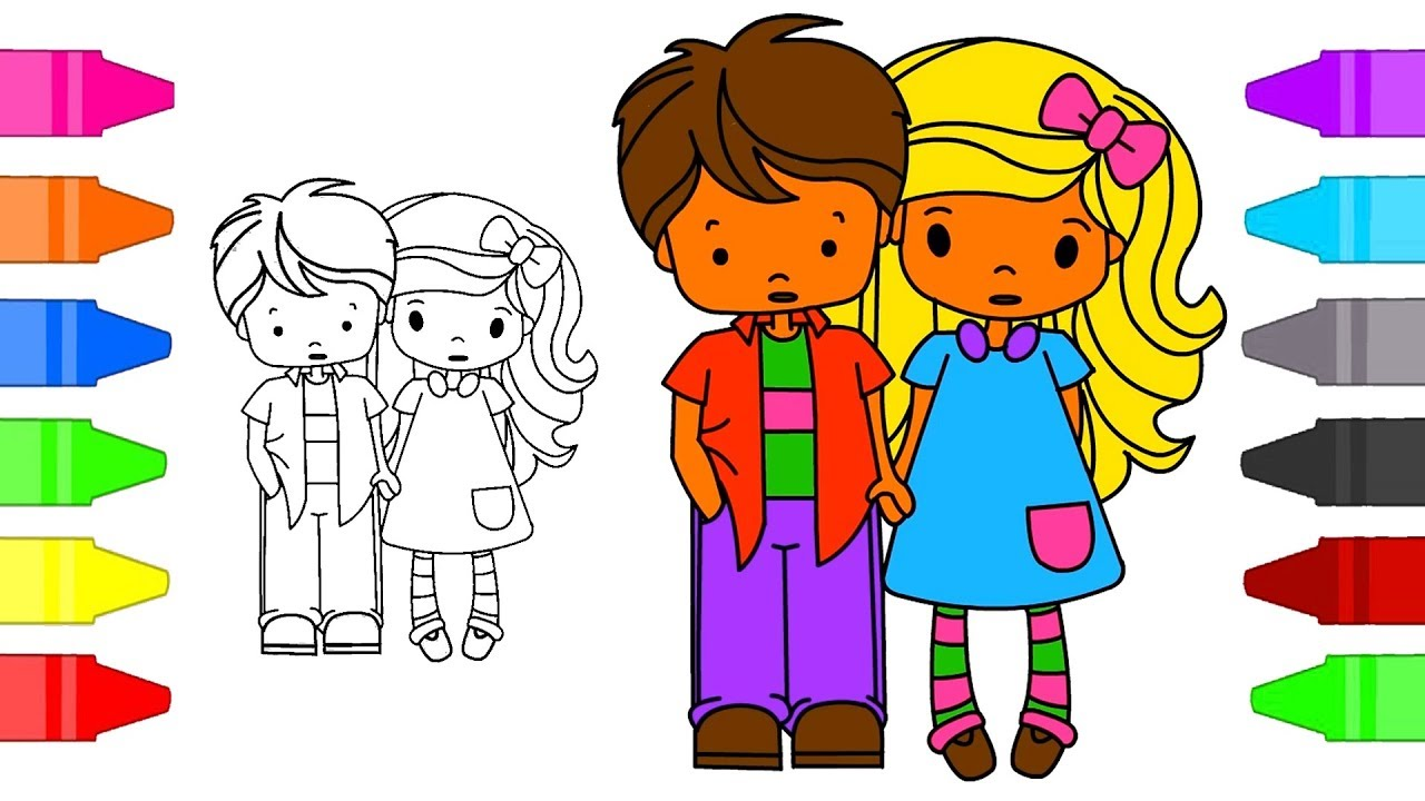 School Boy and Girl Coloring Pages For Kids | Little Boy Girl ...