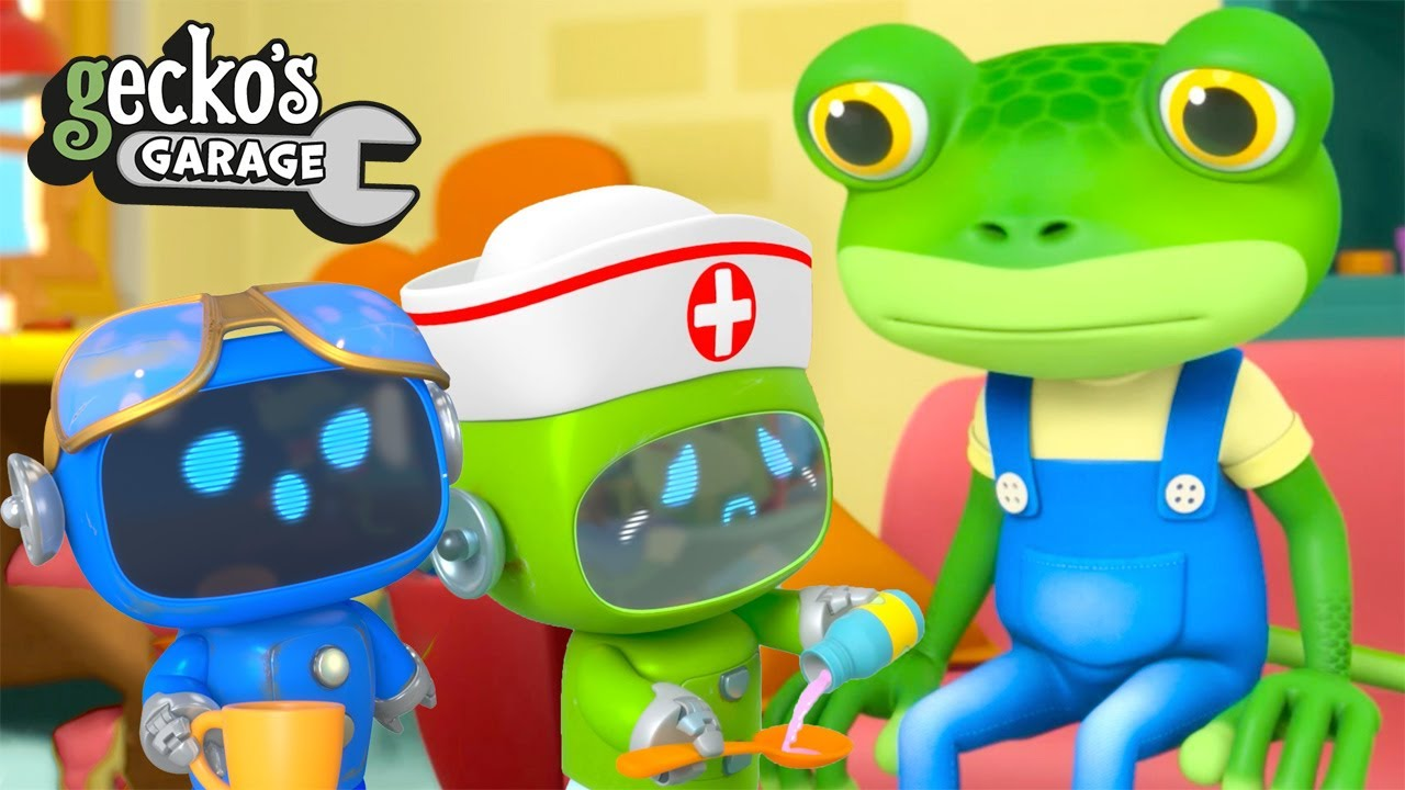 Gecko Takes A Sick Day NEW Gecko's Garage Funny Cartoon For Kids Learning Videos For Toddlers
