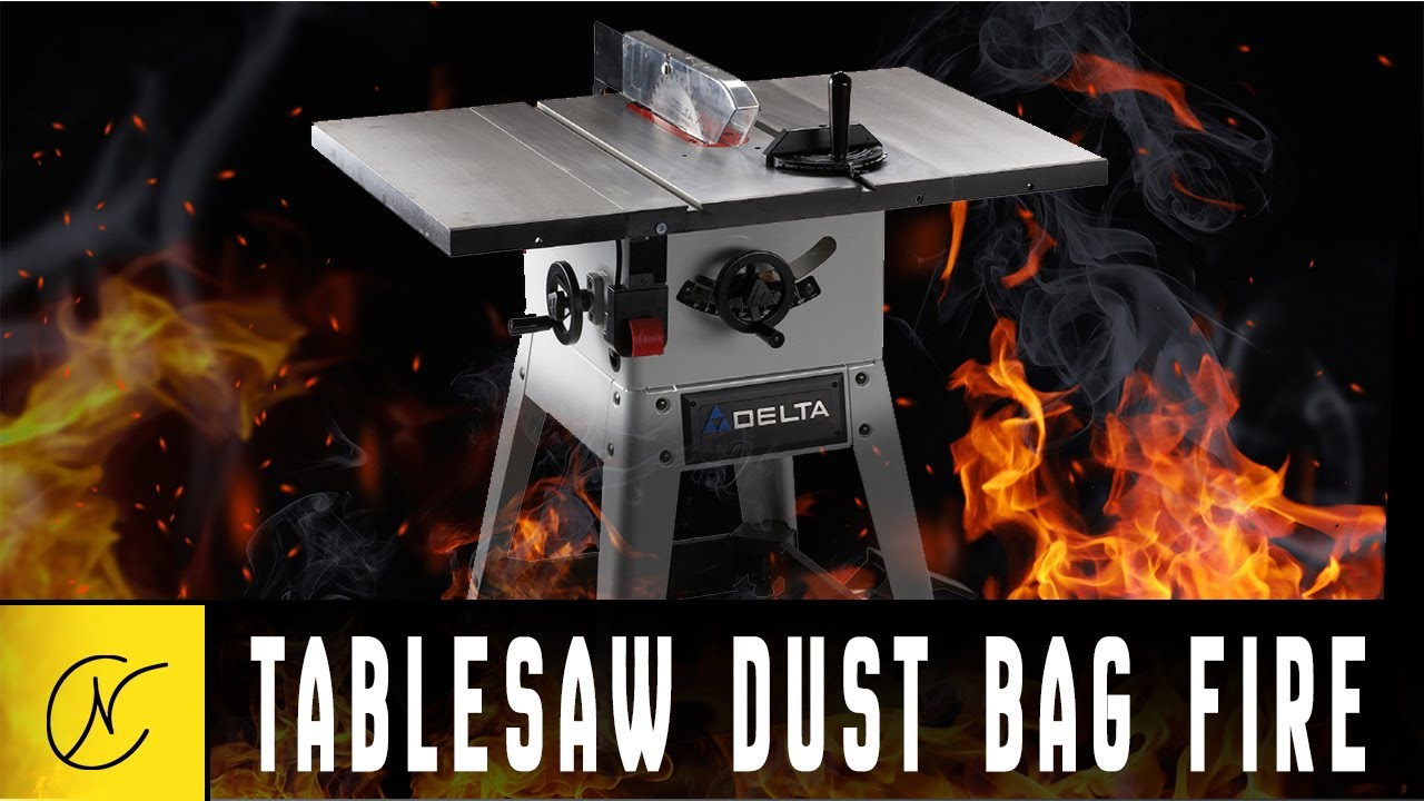 Table Saw Dust Bag Fire