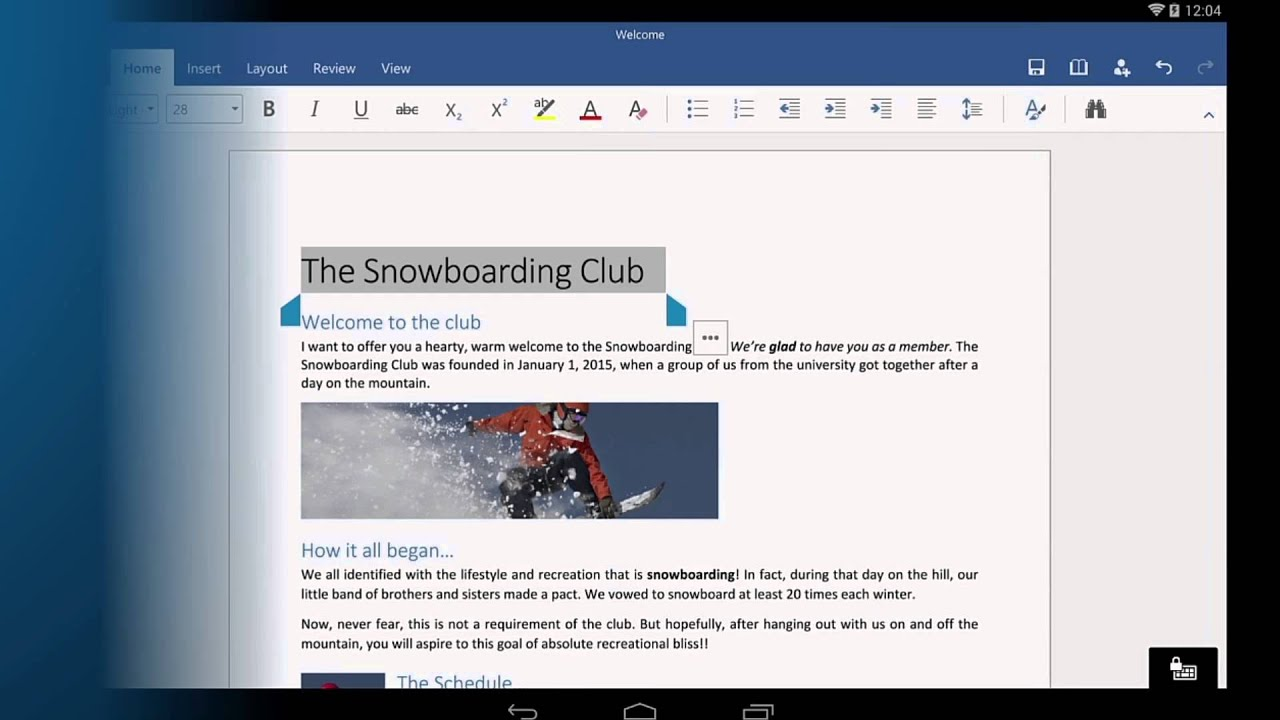 Word For Android Tablet Getting Started Youtube