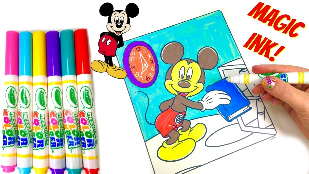 mickey mouse clubhouse crayola magic ink marker coloring book surprise youtube - Magic Marker Coloring Book