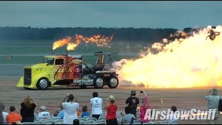Shockwave Jet Truck - Fireballs, Afterburner Pops and High Speed Run - NAS Oceana Airshow 2014