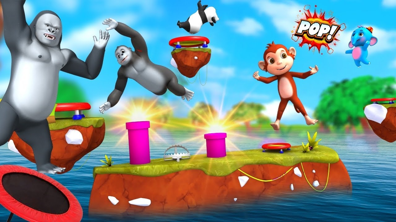 Funny Monkey and Elephant Play Trampoline Fun Game & Fruits Challenge | 3D Animal Funny Videos