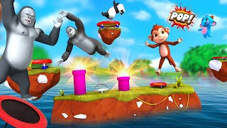 Funny Monkey and Elephant Play Trampoline Fun Game \u0026 Fruits Challenge   3D Animal Funny Videos
