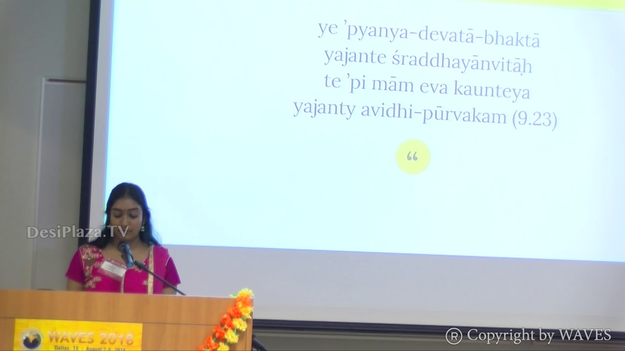 Ms Ananya Ponangi's talk 'Understanding the Divine in Hinduism' at WAVES  Dallas, Texas - 2018.