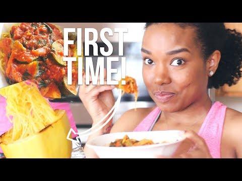 FIRST TIME Making and Tasting Spaghetti Squash + RECIPE!