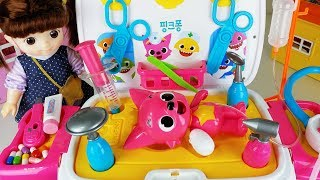 Baby doll doctor and Pinkfong ambulance car toys hospital play - ToyMong TV 토이몽