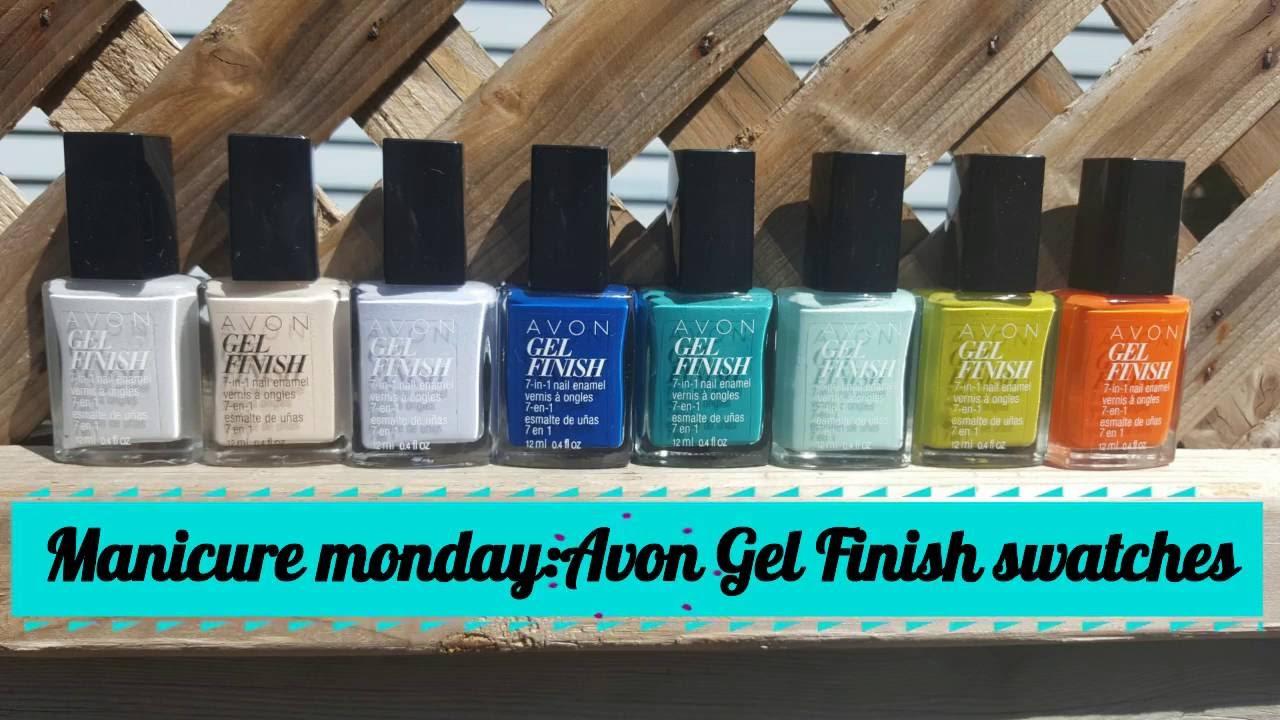 Manicure Monday 23 Avon Gel Finish Nail Polish 8 New Colours Swatches Youtube