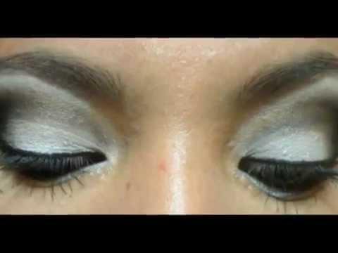 Maquillaje en blanco y negro con labios rojos youtube for Como pintarse los ojos de negro