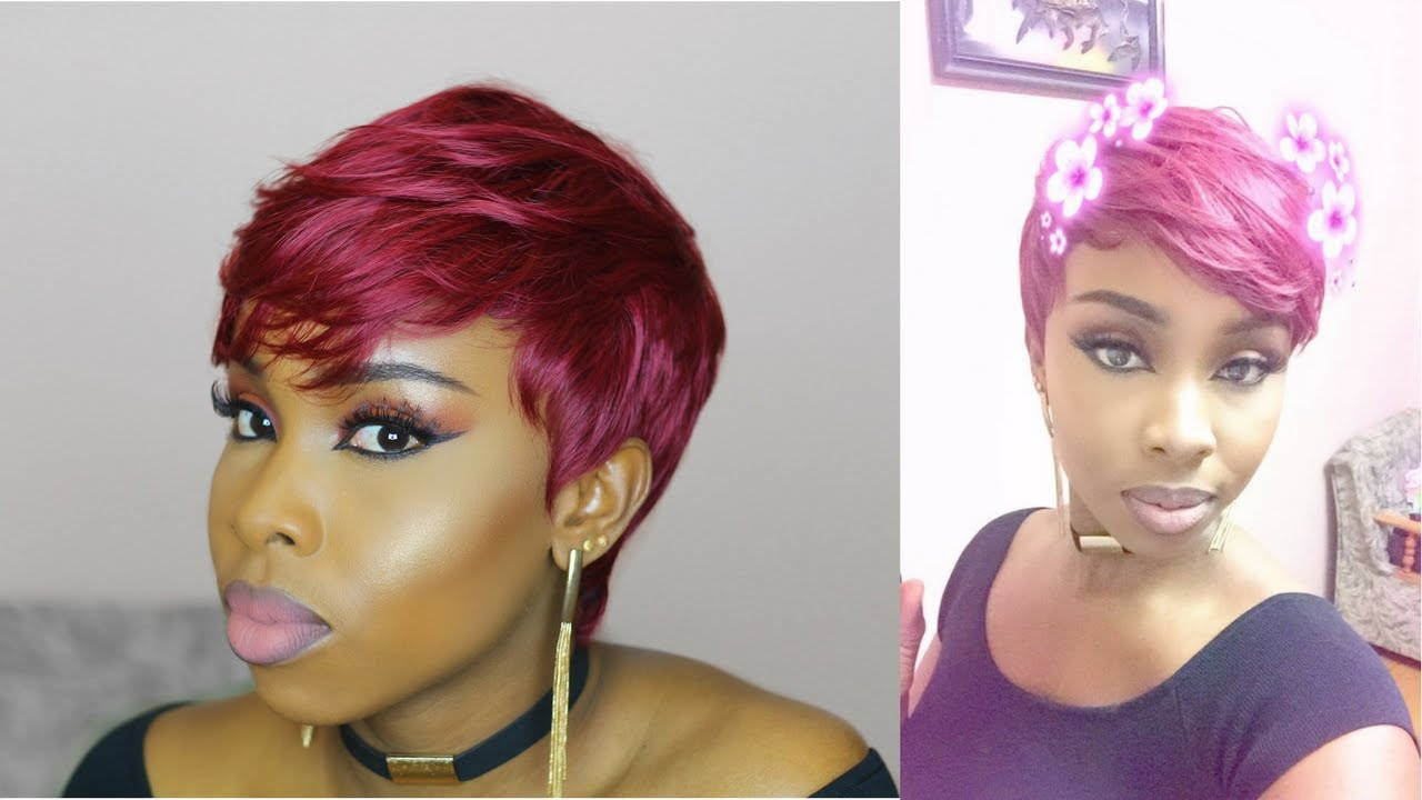 27 Pieces Hair Styles: BURGUNDY PIXIE CUT 27 PIECE WIG TUTORIAL (90% SEWN