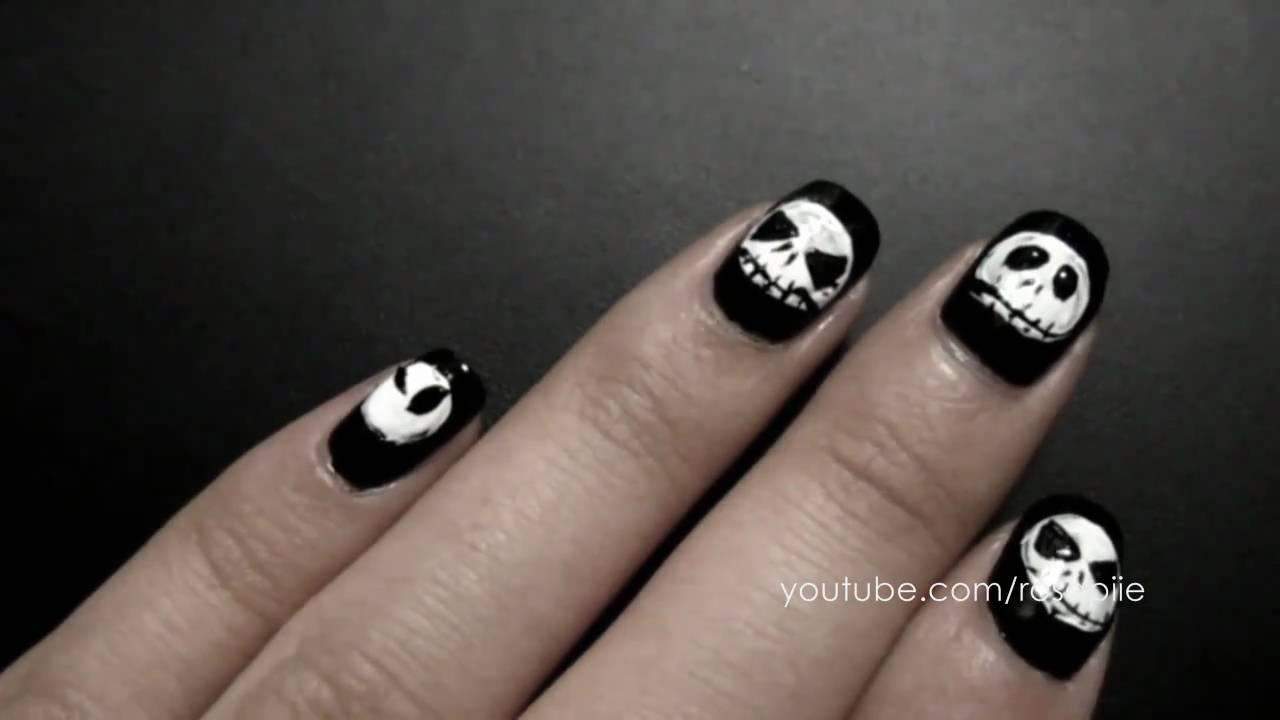 Jack Skellington Nails - YouTube