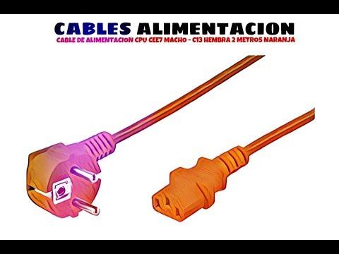Video de Cable de alimentacion CPU CEE7 macho - C13 hembra 2 M Naranja