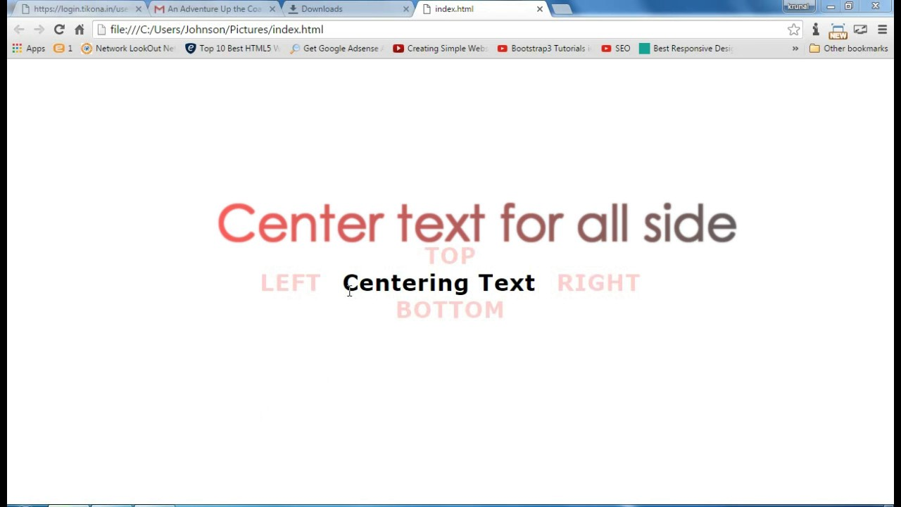 Center Align Text For All Side In HTML CSS