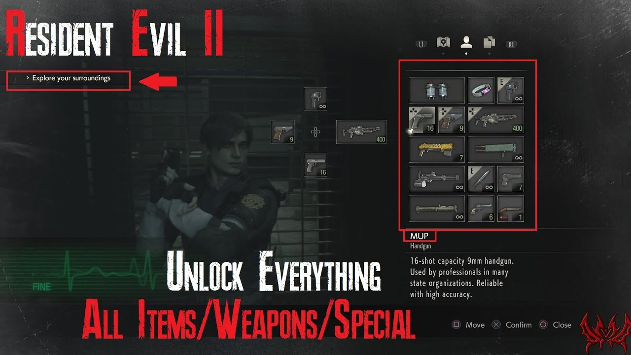 Resident Evil 2 Remake: All Key Items, All Weapons, 999 Ammo & Infinite  Ammo, God Mode +TUTORIAL