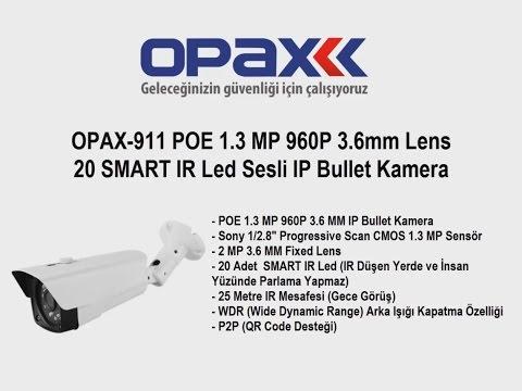 OPAX-911 POE 1.3 MP 960P 3.6mm Lens 20 SMART IR Led Sesli IP Bullet Kamera