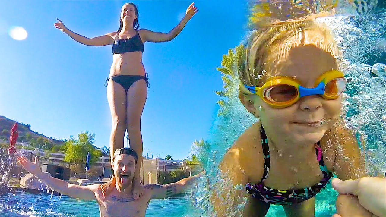 💦 FAMILY POOL STUNTS! 🏊