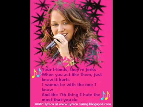 7 things MILEY CYRUS aka Hannah Montana + onscreen lyrics + download