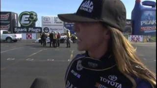 Alexis Dejoria Great Run Paul Lee Qualifying TFC 2014 Winter Nationals Pomona CA