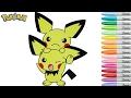Pokemon Coloring Book Pichu Anime Colouring Pages Rainbow Splash rscb