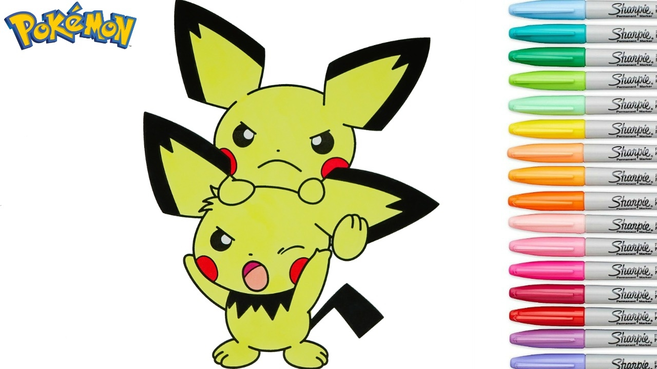 pokemon coloring book pichu anime colouring pages rainbow splash