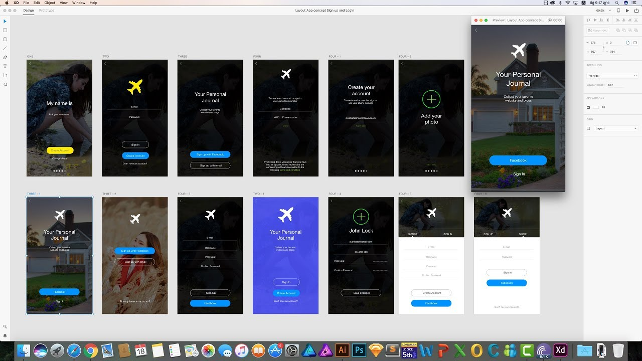 Layout concept sign in and sign up app design with adobe for App layout design online