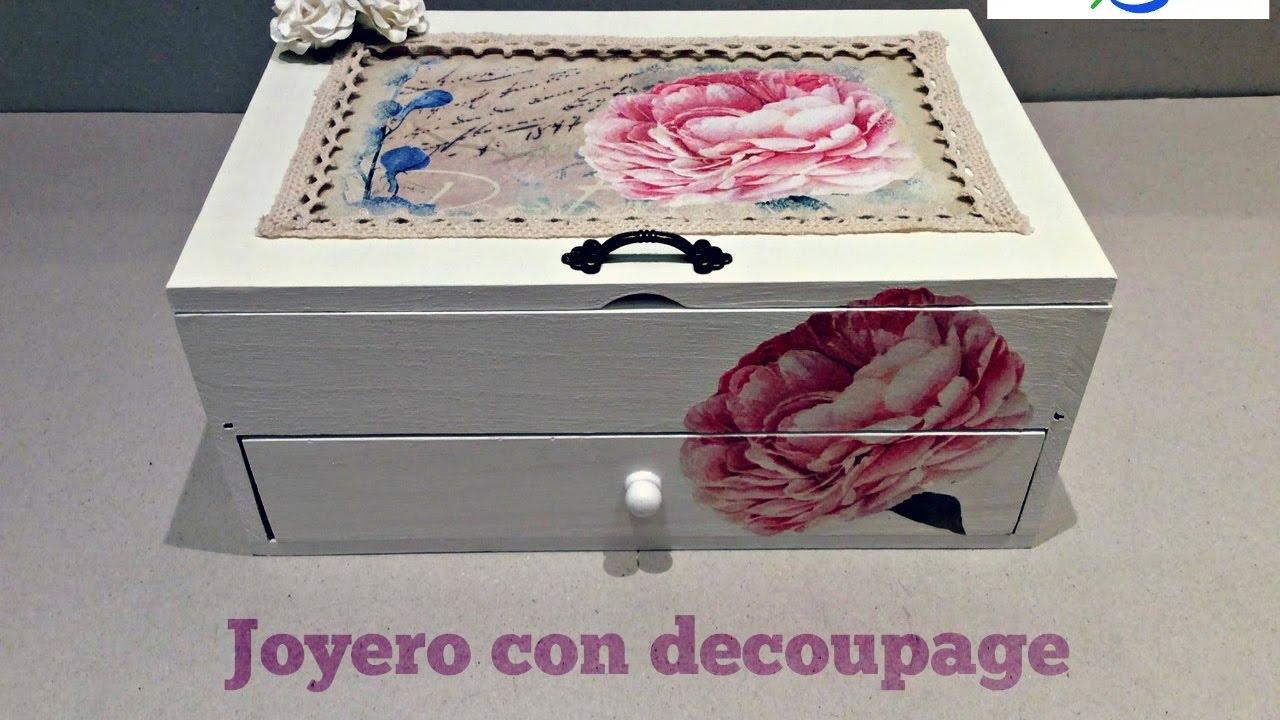 C mo decorar cajas de madera diy joyero tocador - Como decorar una caja de madera ...