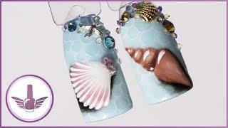 Летний дизайн ногтей с ракушкой и каплями по мокрому | Морской маникюр