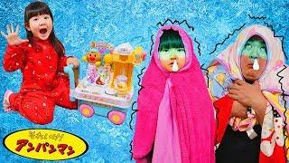 アンパンマンアイス屋さんごっこ!アイスクリームを食べすぎちゃダメ!おもちゃおままごと Playhouse Anpanman icecream shop Toy