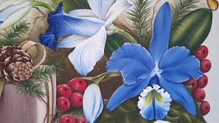 Pintura De Orquídea Azul
