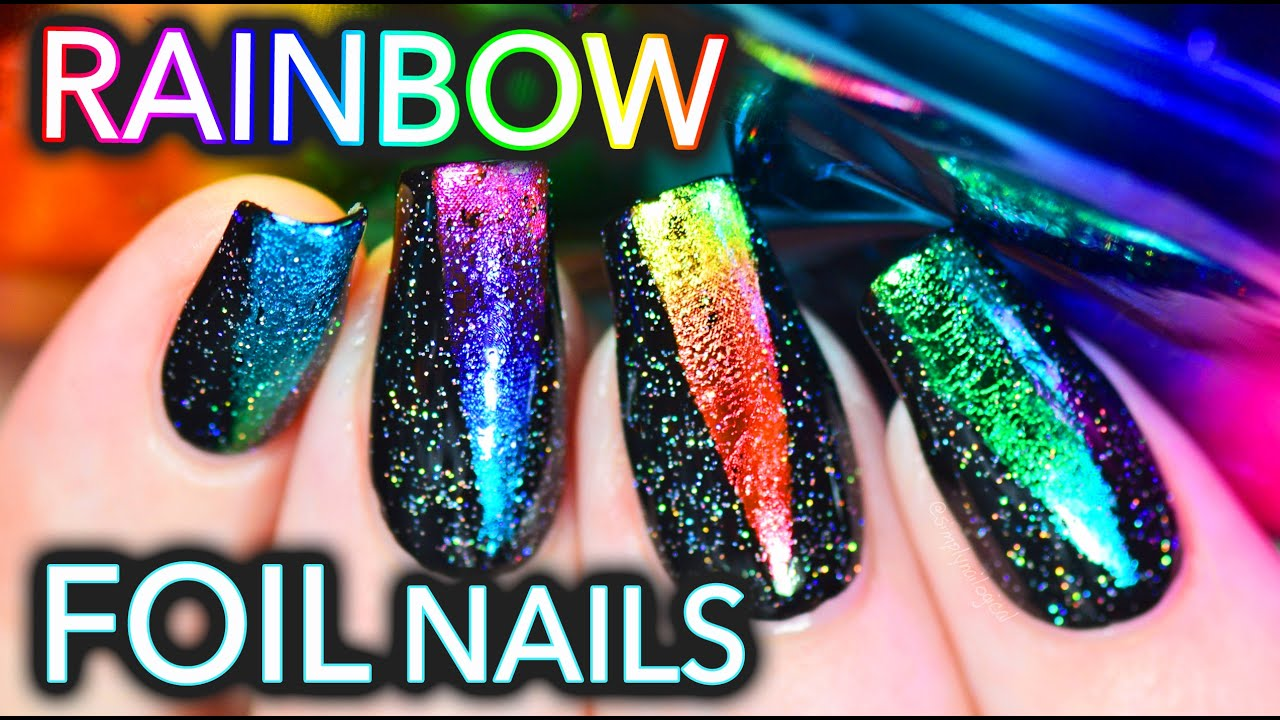 EASY Rainbow foil nail art with HOLO!! - YouTube